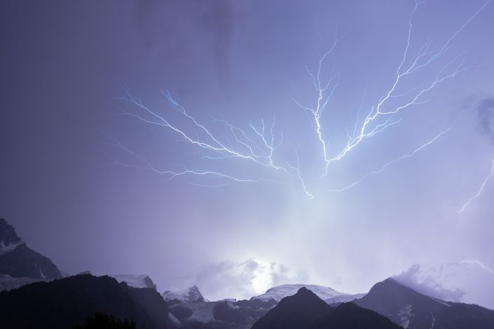 Lightning photo above the Mont Blanc, Chamonix, France