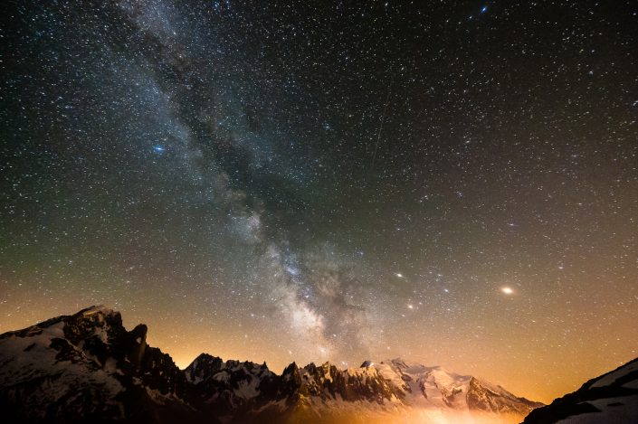 Astrophotography above the Mont Blanc, Chamonix, France