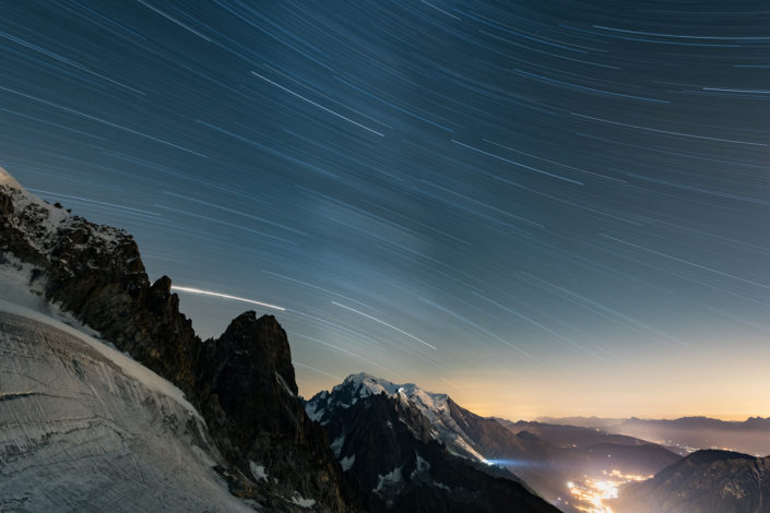 Astrophotography over the Mont Blanc and Chamonix in 2018