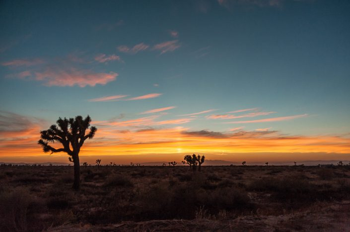 Red sunset over Californian desert