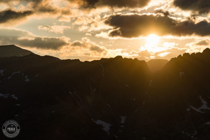 Sunset over the mountains of Chamonix in 2018