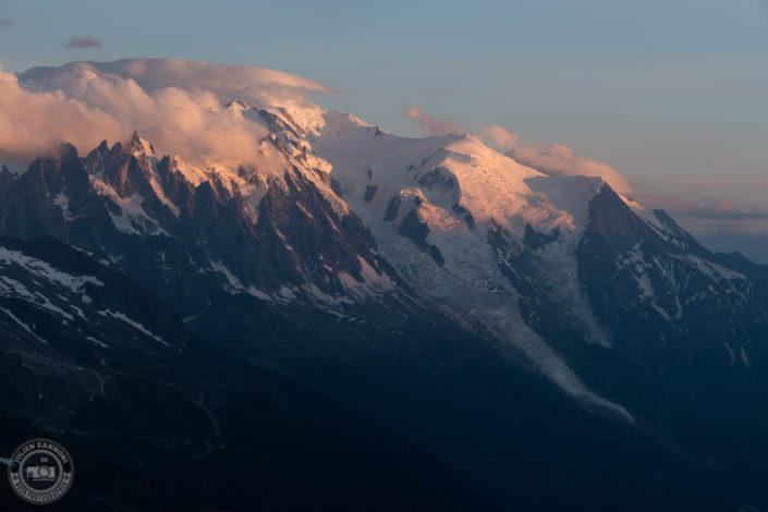 Sunsert over the Aiguille du midi and Mont Blanc in the valley of Chamonix from Tête de Balme in 2018