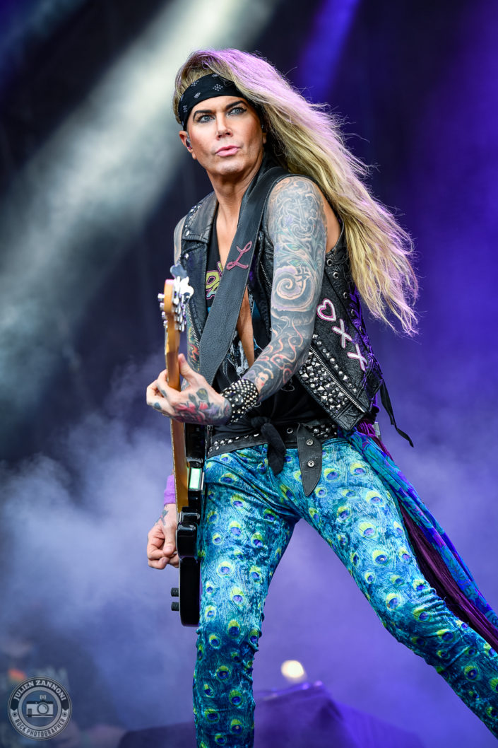 Steel Panther is seen on stage during Wacken Open Air 2018 (Germany)