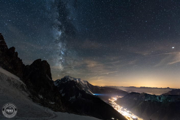 Milky Way over the Mont Blanc and Chamonix